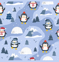 Christmas seamless pattern with penguin vector