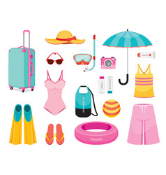 Clothes and necessities for summer season travel vector