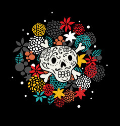 Colorful print with skull and bones vector