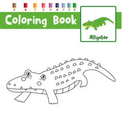 Coloring page alligator vector