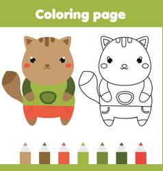Coloring page with cat drawing kids game vector