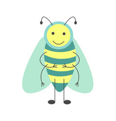 Cute hoverfly with long antennae and striped body vector