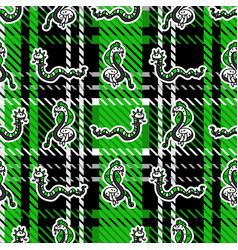 Cute punk snake on plaid background pattern vector