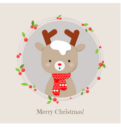cute reindeer cartoon lovely christmas background vector image
