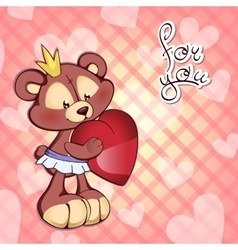 cute Teddy bear in tutu and a vector image