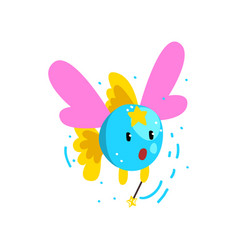 Cute winged fish flying with a magic wand fantasy vector
