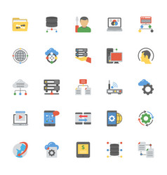 Data management flat icons pack vector