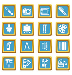 Design and drawing tools icons set sapphirine vector
