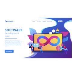 Devops team concept landing page vector
