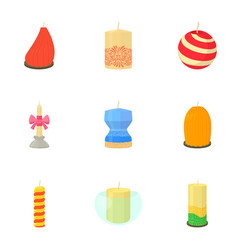 different candles icons set cartoon style vector image