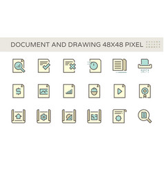 Document and drawing icon set design 48x48 pixel vector