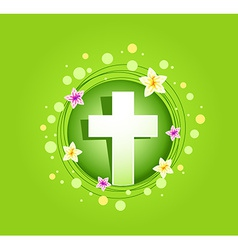 Easter religious cross spring card vector image