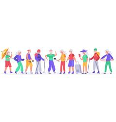 elderly people crowd active senior elderly vector image