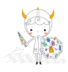 Fairytale viking - rain kids vector