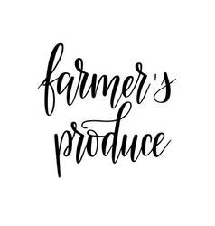 farmers produce locally grown food lettering vector image