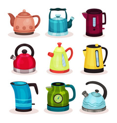 flat set of tea kettles kitchen utensils vector image