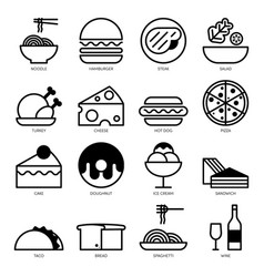 food line icons set isolated on white background vector image