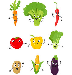 funny cartoon vegetable characters flat set icon vector image