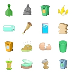Garbage items icons set cartoon style vector image