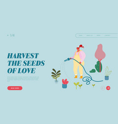 gardening hobwebsite landing page woman vector image