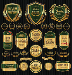 Golden shields laurel wreaths and badges collectio vector