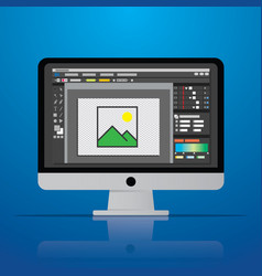 Graphic photo picture editor software icon on vector