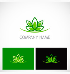 green lotus flower ecology logo vector image