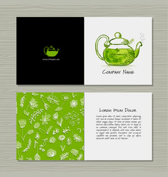Greeting cards design herbal tea vector