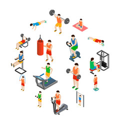 gym icons set vector image