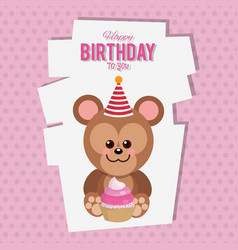 Happy birthday monkey cartoon card vector