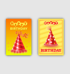 happy birthday pair of colorful greeting cards vector image
