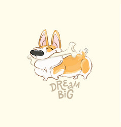 Happy corgi dog play bone poster funny vector