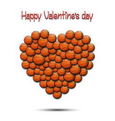 happy valentines day heart from basketball balls vector image