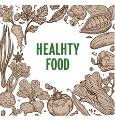 healthy food farm vegetables frame organic product vector image
