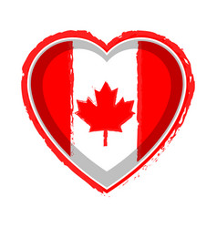 Heart shaped flag of canada vector