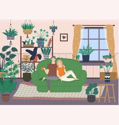 interior room sitting couple plants vector image