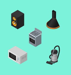 Isometric electronics set of microwave stove vac vector