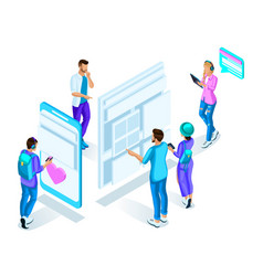 isometrics teenagers students watch the sched vector image