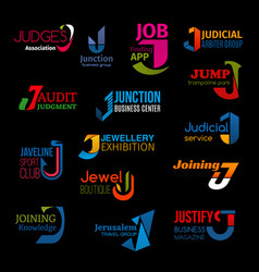 J letter abstract design corporate identity icons vector