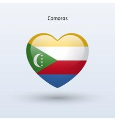 Love comoros symbol heart flag icon vector
