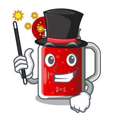 Magician fresh tomato juice isolated on mascot vector