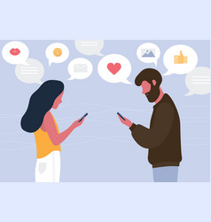 Man and woman chatting online on their smartphones vector