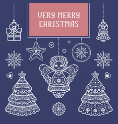 Merry xmas lettering composition greeting card vector