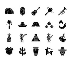 mexican culture glyph icons set vector image
