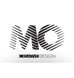Mo m o lines letter design with creative elegant vector