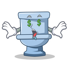 Money eye toilet character cartoon style vector