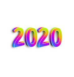 neon numbers 2020 on white background vector image