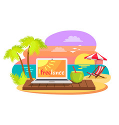 open notebook on tropical beach text freelance vector image