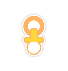 Paper sticker nipple toddler on white background vector
