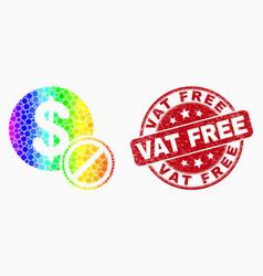 rainbow colored pixelated forbidden dollar vector image